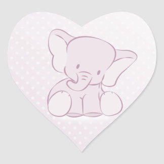 Lilac Elephant Polka Dots Heart Sticker