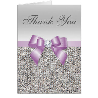 Lilac Faux Bow Silver Sequins Thank You Card