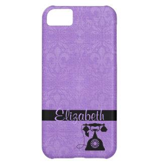 Lilac Fleur De Lis Damask with Antique Telephone iPhone 5C Case