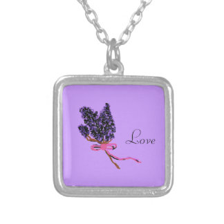 Lilac Flower Design in Summer Flowers Square Pendant Necklace