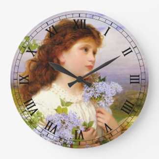 Lilac Flower Girl | Vintage Art Wall Clocks