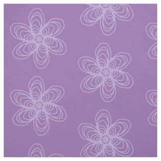 Lilac flower outline on purple background fabric