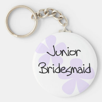 Lilac Flowers Jr. Bridesmaid Basic Round Button Key Ring