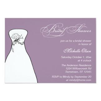 Lilac Formal Wedding Gown Bridal Shower Card