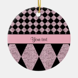 Lilac Glitter Checkers & Diamonds Round Ceramic Decoration