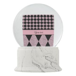 Lilac Glitter Checkers & Diamonds Snow Globe