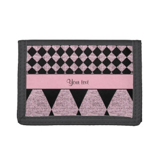 Lilac Glitter Checkers & Diamonds Trifold Wallet