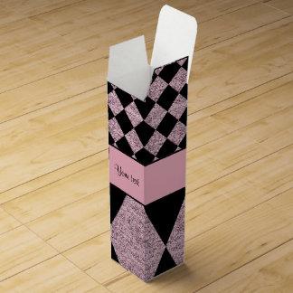 Lilac Glitter Checkers & Diamonds Wine Gift Box