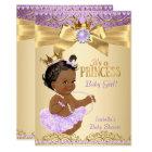 Lilac Gold Ballerina Princess Baby Shower Ethnic Card