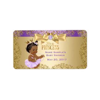 Lilac Gold Ballerina Princess Baby Shower Ethnic Label