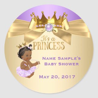 Lilac Gold Ballerina Princess Baby Shower Ethnic Round Sticker