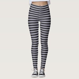 Lilac Gray and Black Stripes Leggings