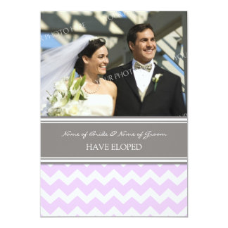 Lilac Gray Chevron Photo Elopement Announcement