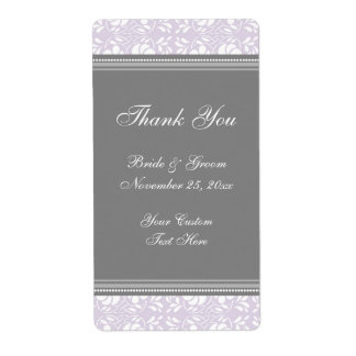Lilac Gray Damask Wedding Labels