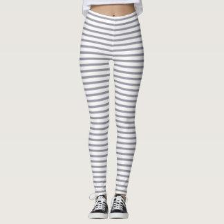 Lilac Gray Stripes Leggings