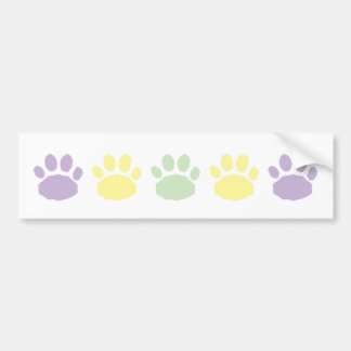 Lilac, Green and Yellow Pastel Animal Paw Prints Bumper Sticker