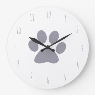 lilac grey pet paw print large clock