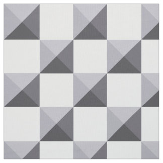 Lilac Grey Pyramid Illusion Checkerboard Fabric
