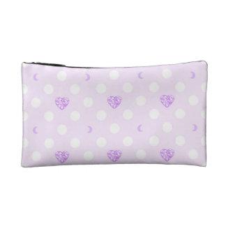 Lilac Heart Gem & Moon Polka Dots Cosmetic Bag