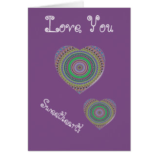 Lilac Heart Love You Card