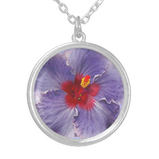 Lilac Hibsicus Bloom Silver Plated Necklace