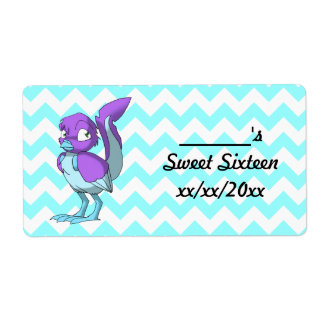 Lilac/Ice Blue Reptilian Bird Water Bottle Shipping Label