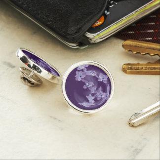 Lilac in circle lapel pin