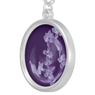 Lilac in circle silver plated necklace