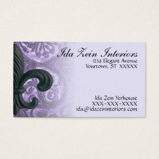 """lilac """"iron fleur de lis"""" Custom Business Cards"""