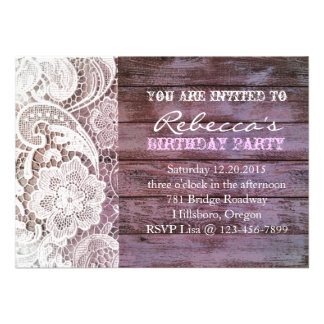 lilac lace barnwood vintage birthday party announcements