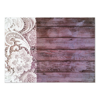 lilac lace barnwood vintage birthday party 4.5x6.25 paper invitation card