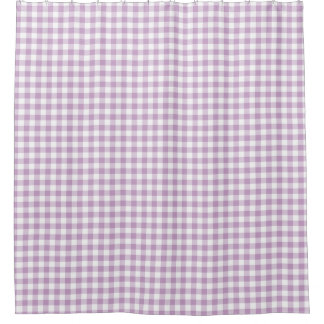Lilac (Light Purple) White Gingham Checks Squares Shower Curtain