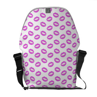 Lilac Lipstick Kisses Messenger Bag