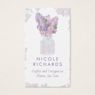 Lilac Mason Jar Bouquet Floral Watercolor Elegant Business Card