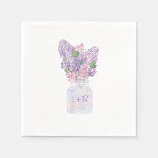 Lilac Mason Jar Elegant and Rustic Wedding Disposable Napkins
