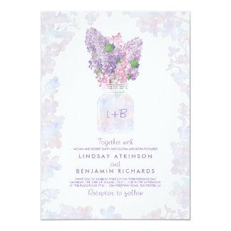 Lilac Mason Jar | Floral Watercolor Rustic Wedding Card