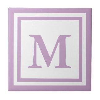 Lilac Monogrammed Ceramic Tile
