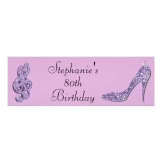 Lilac Music Note and Stiletto 80th Birthday Poster