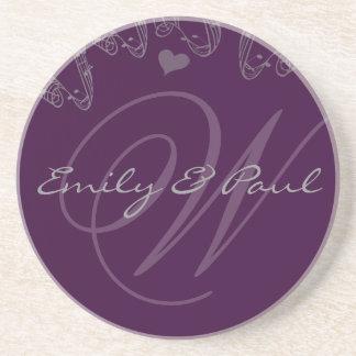 Lilac Musical Monogram Wedding Anniversary Coaster