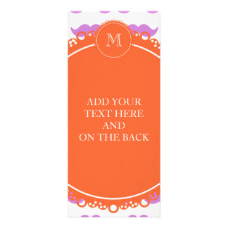 Lilac Mustache Pattern, Coral White Monogram Rack Cards