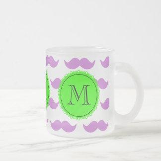 Lilac Mustache Pattern, Green Black Monogram Frosted Glass Mug