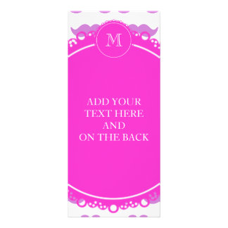 Lilac Mustache Pattern, Hot Pink White Monogram Full Color Rack Card