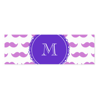 Lilac Mustache Pattern, Purple White Monogram Pack Of Skinny Business Cards