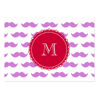 Lilac Mustache Pattern, Red White Monogram Pack Of Chubby Business Cards