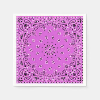 Lilac Orchid Pink Paisley Bandana Scarf BBQ Picnic Disposable Serviette