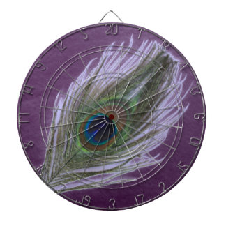 Lilac Peacock Feather D Dartboard With Darts