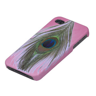 Lilac Peacock Feather on Lilac Case For The iPhone 4