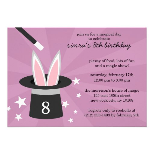 Lilac Peek-a-Boo Rabbit Custom Magic Birthday Part Personalized Invites