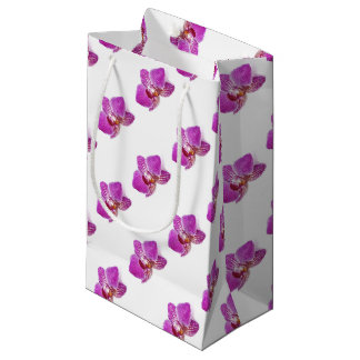 Lilac phalaenopsis floral watercolor painting small gift bag