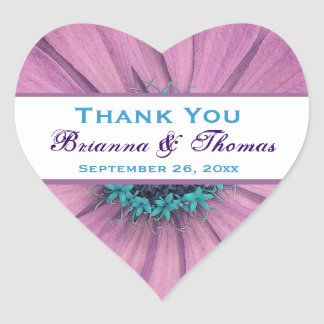 Lilac Pink Daisy and  Blue Thank You Wedding Heart Sticker